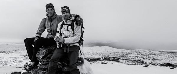 Mattias Skantz & Henrik Westling vid avslutat projekt på Blåhammarkläppen 1163m maj månad 2015. Foto: Mattias Fredriksson